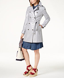 Tommy Hilfiger Coated Striped Trench Coat