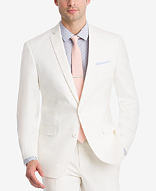 CLOSEOUT! Bar III Men's Slim-Fit Stretch White Solid Suit Jacket, Created for Macy's