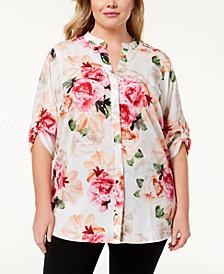 Calvin Klein Plus Size Printed Tab-Sleeve Blouse