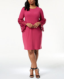 Alfani Plus Size Lace-Sleeve A-Line Dress, Created for Macy's