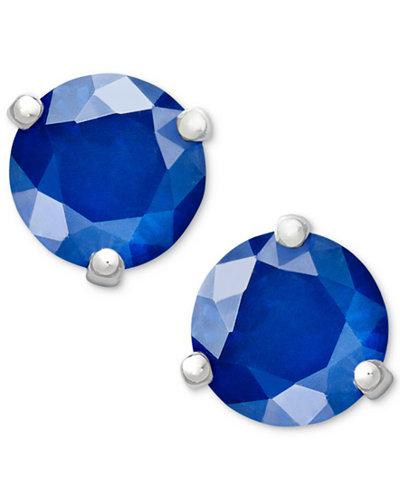 14k White Gold Earrings, Sapphire Stud (1-1/10 ct. t.w.)