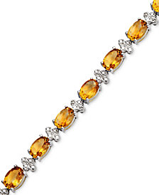 Semi-Precious Stone and Diamond Accent Tennis Bracelet Collection in Sterling Silver
