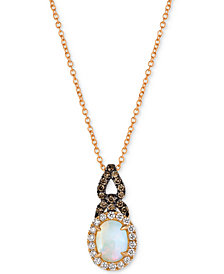 "Le Vian Chocolatier® Neopolitan Opal™ (5/8 ct. t.w.) & Diamond (1/3 ct. t.w.) 18"" Pendant Necklace in 14k Rose Gold"