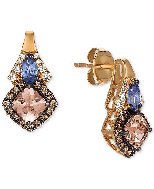 Le Vian Chocolatier® Multi-Gemstone (1-1/8 ct. t.w.) & Diamond (3/8 ct. t.w.) Drop Earrings in 14k Rose Gold