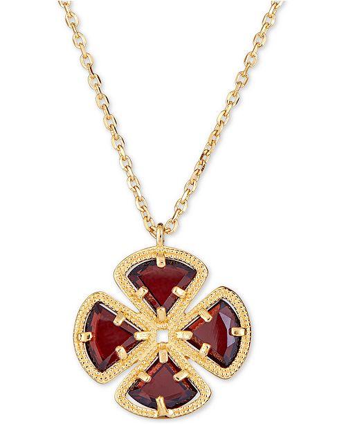 "Macy's Rhodolite Garnet Clover Pendant Necklace (4 ct. t.w.) in 18k Gold-Plated Sterling Silver, 16"" + 1"" extender"