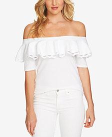 CeCe Cotton Flounce Off-The-Shoulder Top