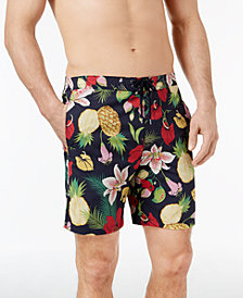"Brooks Brothers Men's Red Fleece Tropical-Print Hybrid 7"" Swim Trunks"