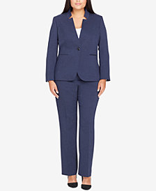 Tahari ASL Plus Size Star-Collar Textured Pantsuit