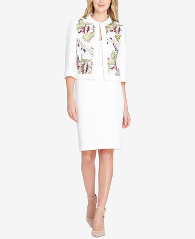 Tahari ASL Embroidered Skirt Suit, Regular & Petite