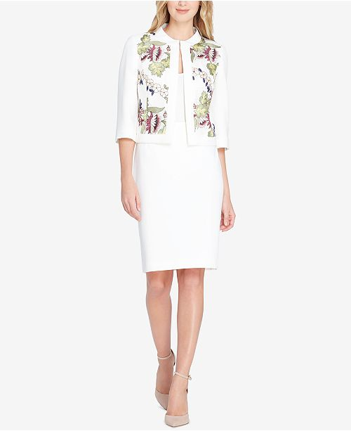 amp; Regular Petite Skirt Tahari Pink Suit Embroidered White ASL pqAwXnR4xO