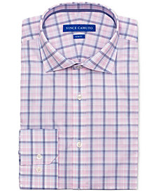 Vince Camuto Men's Slim-Fit Comfort Stretch Coral Plaid Dress Shirt