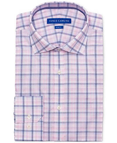 Vince Camuto Men's Slim-Fit Comfort Stretch Coral Plaid Dress Shirt