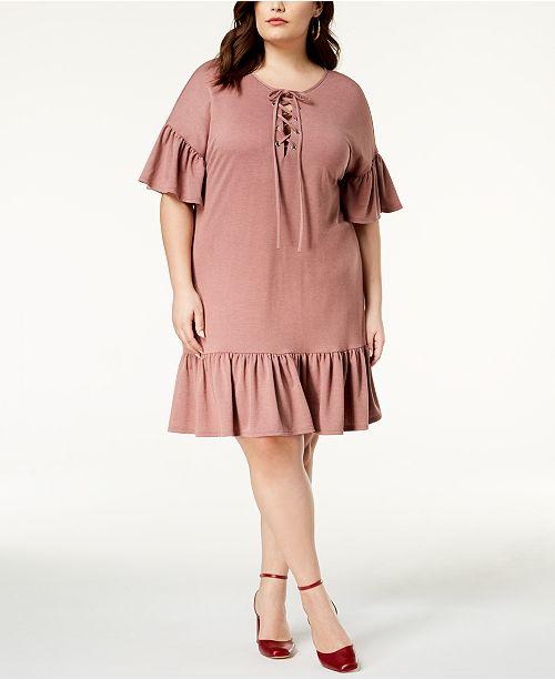 Soprano Trendy Plus Size Lace-Up Shift Dress