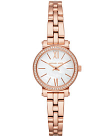 Michael Kors Women's Petite Sofie Rose Gold-Tone Stainless Steel Bracelet Watch 26mm