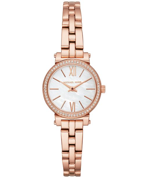 c243e5e31 ... Michael Kors Women's Petite Sofie Rose Gold-Tone Stainless Steel Bracelet  Watch ...