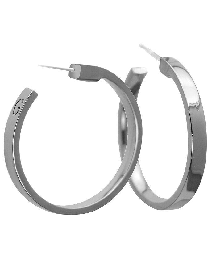 GUESS - Earrings, Silver-Tone Large Hoop