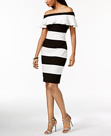 Adrianna Papell Off-The-Shoulder Striped Dress, Created for Macy's