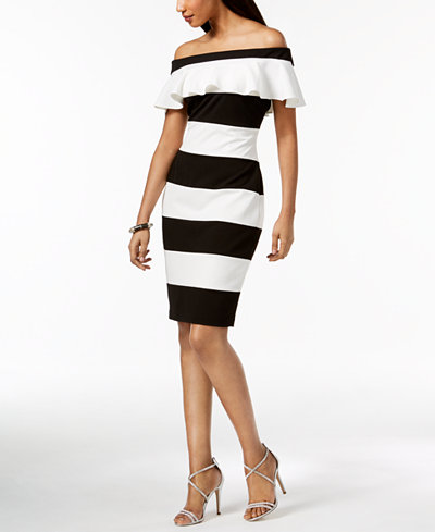 Adrianna Papell Off-The-Shoulder Striped Dress