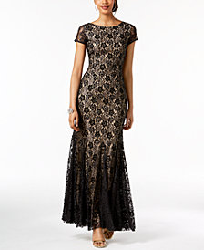 Adrianna Papell Lace V-Back Gown