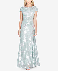 Tahari ASL Cowl-Neck Metallic Cap-Sleeve Gown