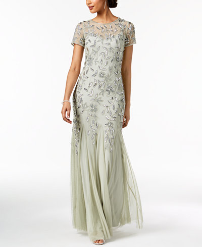 Adrianna Papell Petite Embellished Empire-Waist Gown