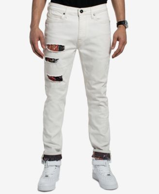 Men's Basquiat Ripped Printed Slim Straight Fit Stretch Jeans, Created for Macy's