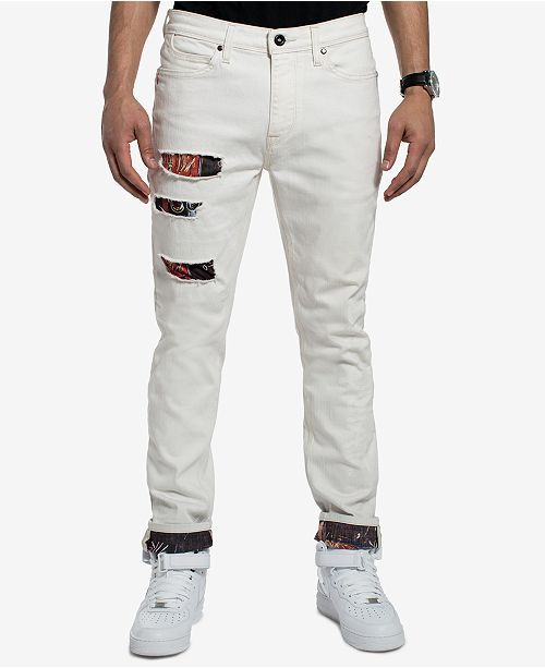 5467884f1e6 Sean John Men s Basquiat Ripped Printed Slim Straight Fit Stretch Jeans