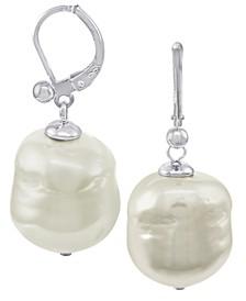 Pearl Earrings, Sterling Silver Baroque Organic Man-Made Pearl Drop
