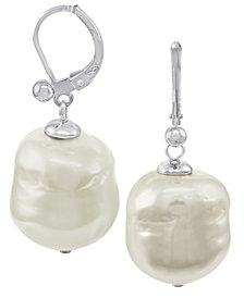 Majorica Pearl Earrings, Sterling Silver Baroque Organic Man-Made Pearl Drop