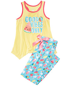 Max & Olivia 2-Pc. Good Vibes Pajama Set, Little Girls & Big Girls