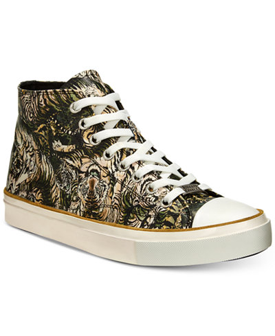 Roberto CavalliMen's Mike Tiger-Print High-Top Sneakers Men's Shoes ZElvL