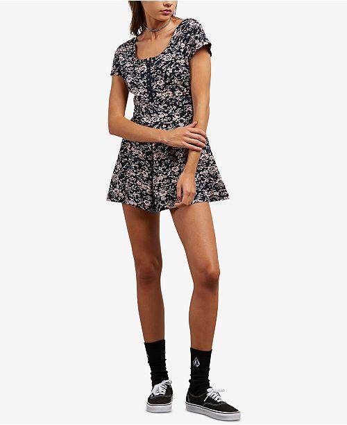 38ec18eb491 Volcom Juniors  Floral-Print Romper   Reviews - Shorts - Juniors ...