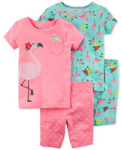 Carter's 4-Pc. Flamingos Cotton Pajama Set, Little Girls & Big Girls