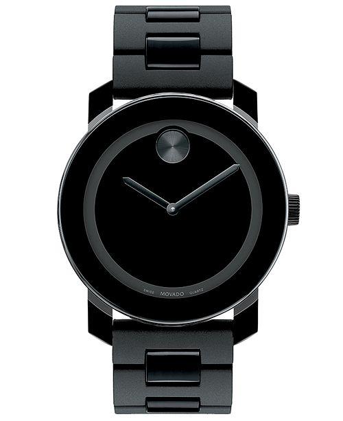 Movado Unisex Swiss Bold Large Black Polymer Bracelet Watch 42mm 3600047