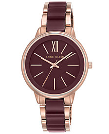 Anne Klein Women's Rose Gold-Tone & Burgundy Bracelet Watch 37mm