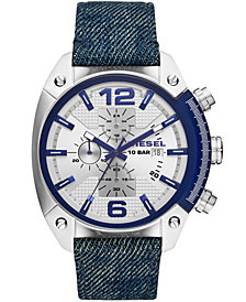 Diesel Men's Chronograph Overflow Blue Denim Strap Watch 49mm
