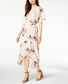 Monteau Petite Printed Faux-Wrap Maxi Dress, Created for Macy's