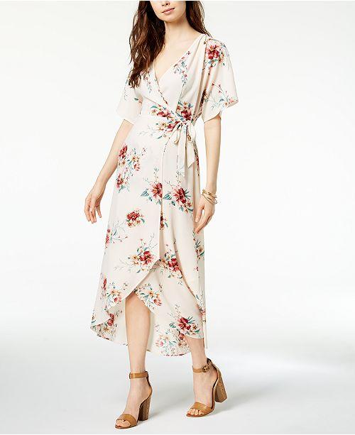 b95a9ec044 ... Monteau Petite Printed Faux-Wrap Maxi Dress