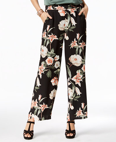 Thalia Sodi Printed Wide-Leg Soft Pants, Created for Macy's