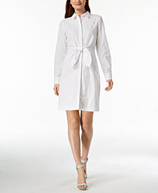 Calvin Klein Cotton Eyelet Tie-Front Shirtdress