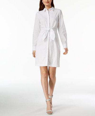 Calvin Klein Cotton Eyelet Tie-Front Shirtdress