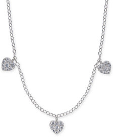 "Diamond Pavé Heart Trio 18"" Statement Necklace (1/3 ct. t.w.) in 14k White Gold"