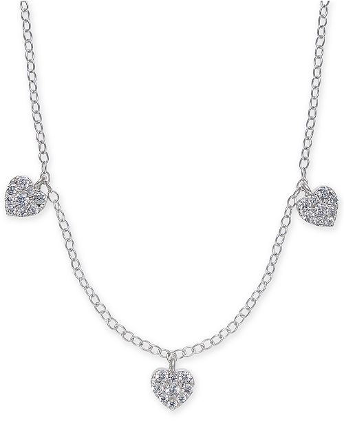 "Macy's Diamond Pavé Heart Trio 18"" Statement Necklace (1/3 ct. t.w.) in 14k White Gold"