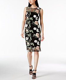 Calvin Klein Petite Floral Embroidered Mesh Dress