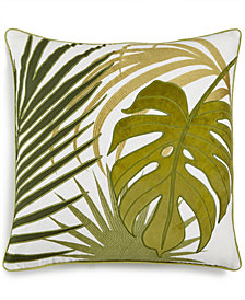 "Lacourte Palm Leaf Appliqué 20"" Square Decorative Pillow, Created for Macy's"