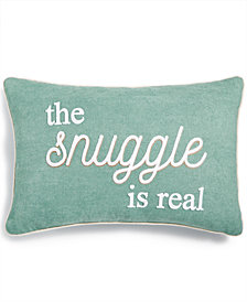 "Lacourte The Snuggle Is Real 16"" x 24"" Embroidered Chenille Decorative Pillow, Created for Macy's"