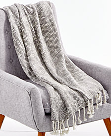 "Lacourte Tino Cotton Gray 50"" x 60"" Textured Throw, Created for Macy's"
