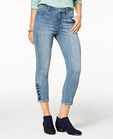Style & Co Petite Lace-Up Hem Cropped Skinny Jeans, Created for Macy's