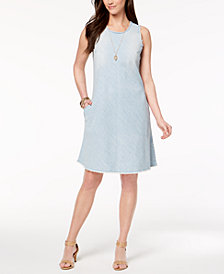 Style & Co Petite Frayed-Denim Swing Dress, Created for Macy's