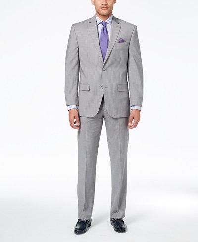 Sean John Men's Classic-Fit Stetch Gray Stripe Suit Separates